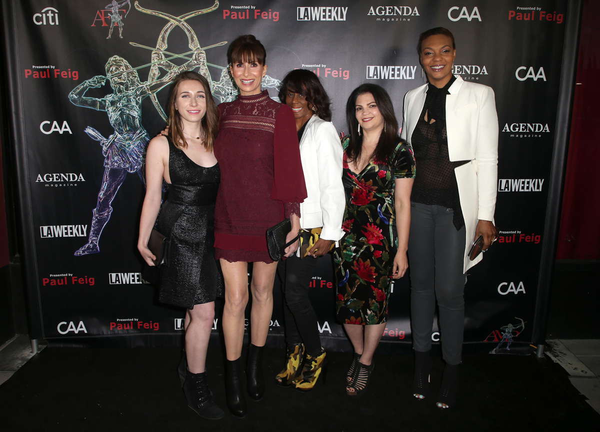 BEVERLY HILLS, CA - APRIL 26: Angelica Baird, Tammie Baird, Alyma Dorsey, Vair Zaganas, LaFaye Baker, at the 2018 Artemis Awards Gala at the Ahrya Fine Arts Theater in Beverly Hills, California on April 26, 2018. Credit: Faye Sadou/MediaPunch