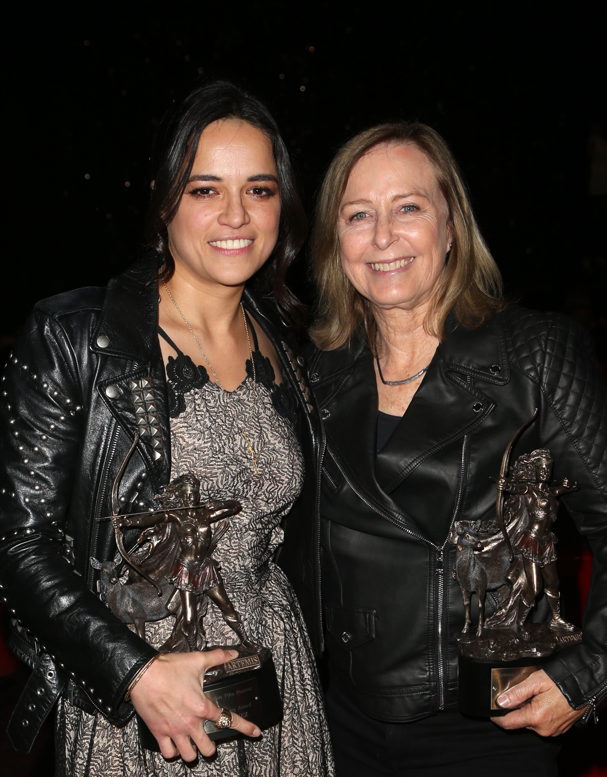 BEVERLY HILLS, CA - APRIL 26: Michelle Rodriguez, Debbie Evans, at the 2018 Artemis Awards Gala at the Ahrya Fine Arts Theater in Beverly Hills, California on April 26, 2018. Credit: Faye Sadou/MediaPunch