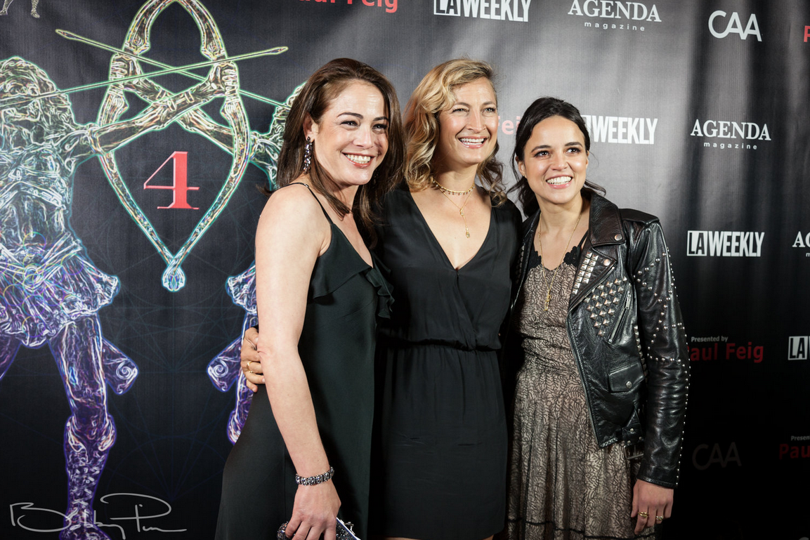 Yancy Butler, Zoe Bell and Michelle Rodriguez at 2018 Artemis Awards Gala 4/26 in Beverly HIlls CA
