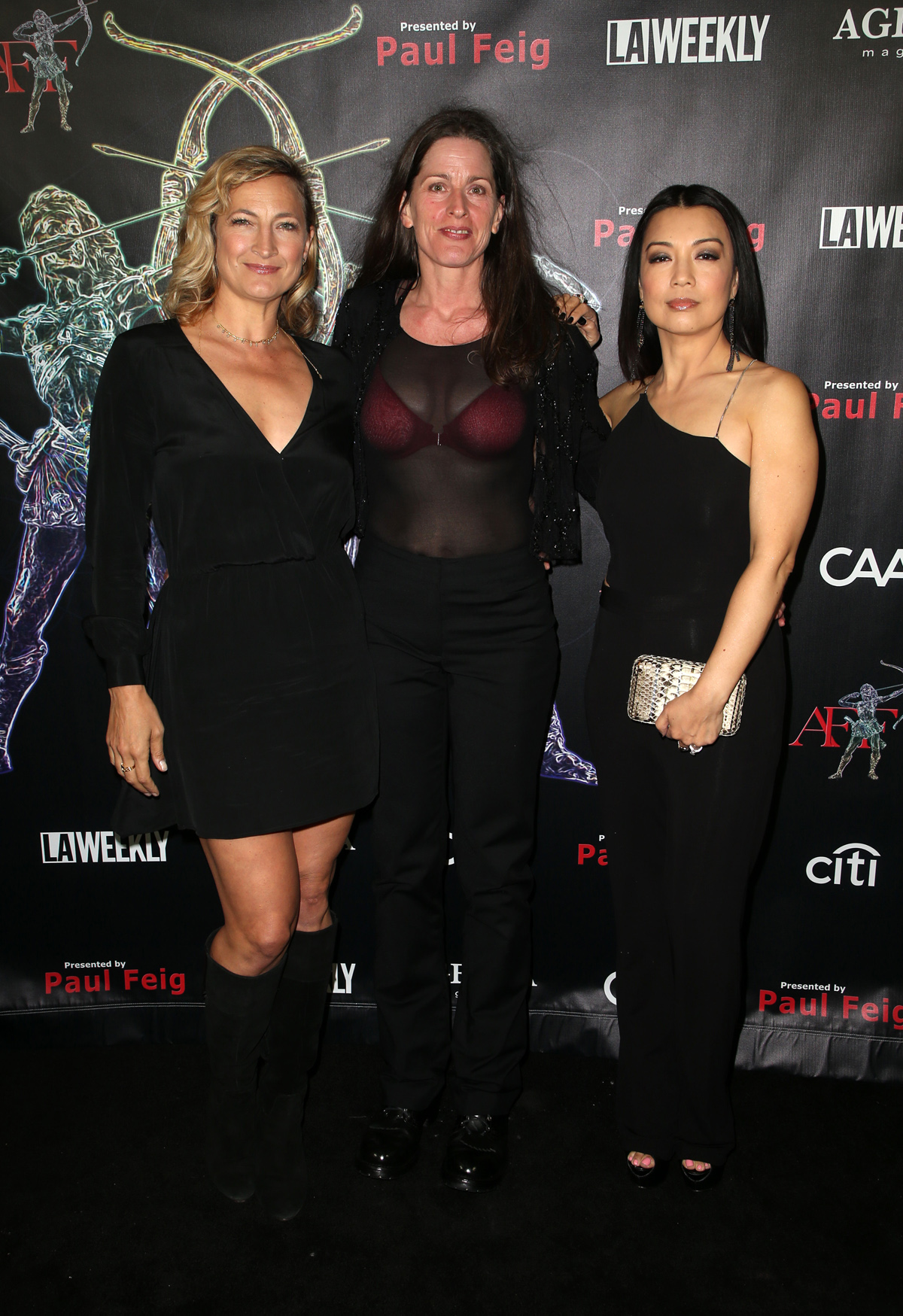 BEVERLY HILLS, CA - APRIL 26: Zoe Bell, Melanie Wise, Ming-Na Wen, at the 2018 Artemis Awards Gala at the Ahrya Fine Arts Theater in Beverly Hills, California on April 26, 2018. Credit: Faye Sadou/MediaPunch