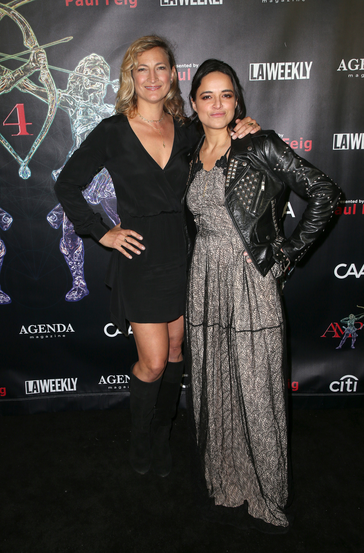 BEVERLY HILLS, CA - APRIL 26: Zoe Bell, Michelle Rodriguez, at the 2018 Artemis Awards Gala at the Ahrya Fine Arts Theater in Beverly Hills, California on April 26,