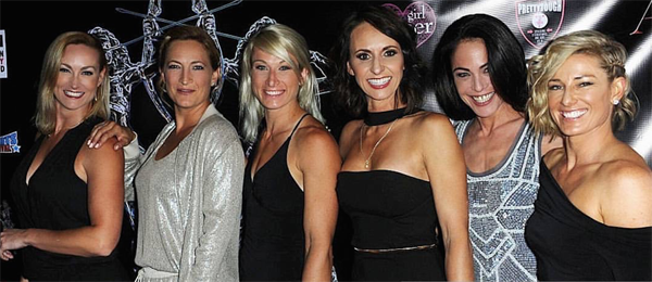 Vanessa Cater Zoe Bell, Jessie Graff, Dayna Grant, Yancy Butler, and Heidi Moneymaker on the Artemis Red Carpet