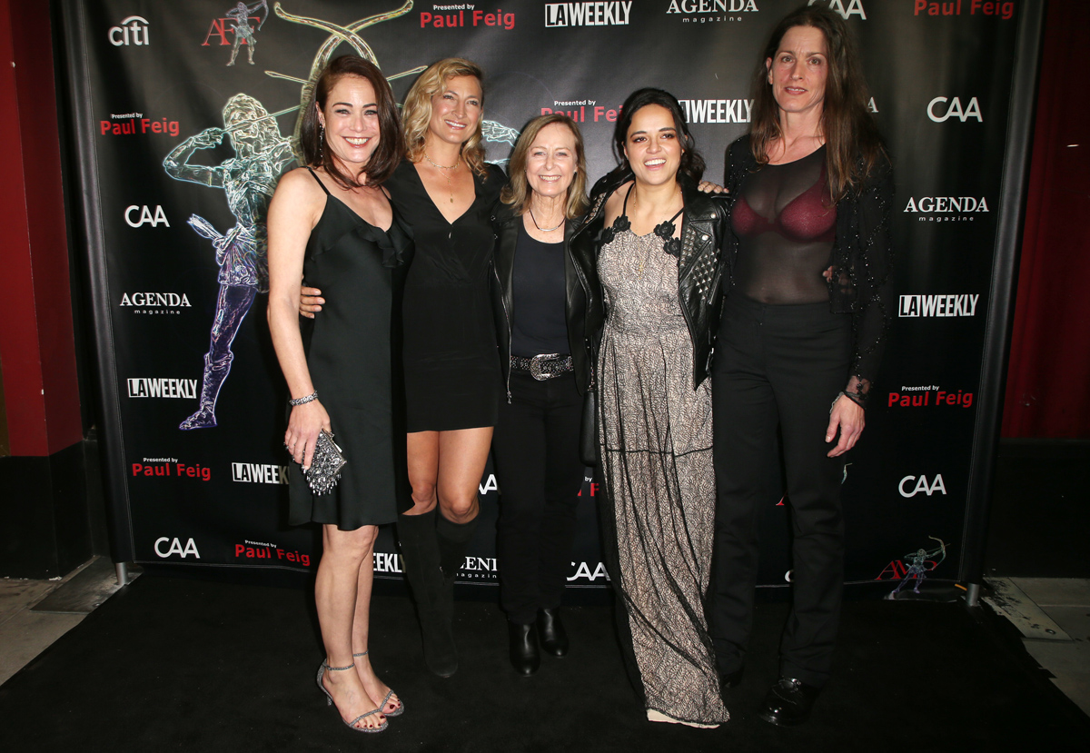 BEVERLY HILLS, CA - APRIL 26: Yancy Butler, Zoe Bell, Debbie Evans, Michelle Rodriguez, Melanie Wise, at the 2018 Artemis Awards Gala at the Ahrya Fine Arts Theater in Beverly Hills, California on April 26, 2018. Credit: Faye Sadou/MediaPunch