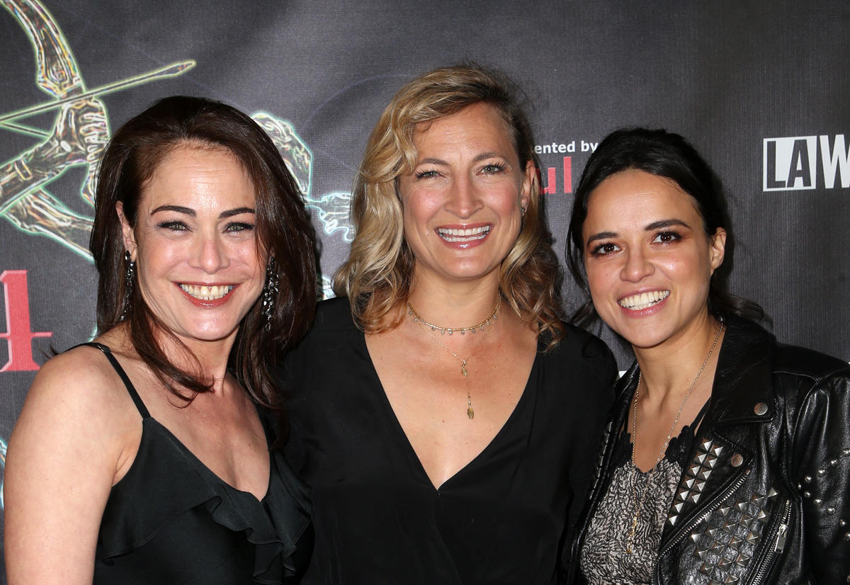 BEVERLY HILLS, CA - APRIL 26: Yancy Butler, Zoe Bell, Michelle Rodriguez, at the 2018 Artemis Awards Gala at the Ahrya Fine Arts Theater in Beverly Hills, California on April 26, 2018. Credit: Faye Sadou/MediaPunch