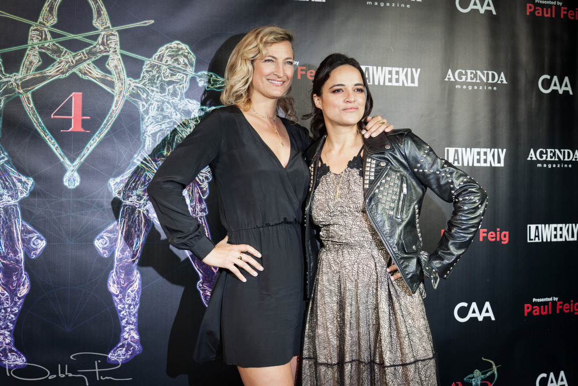 Zoe Bell and Michelle Rodriguez at 2018 Artemis Awards Gala 4/26 in Beverly HIlls CA
